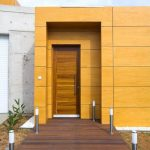 amazing orange exterior stained brown wooden door wooden patio