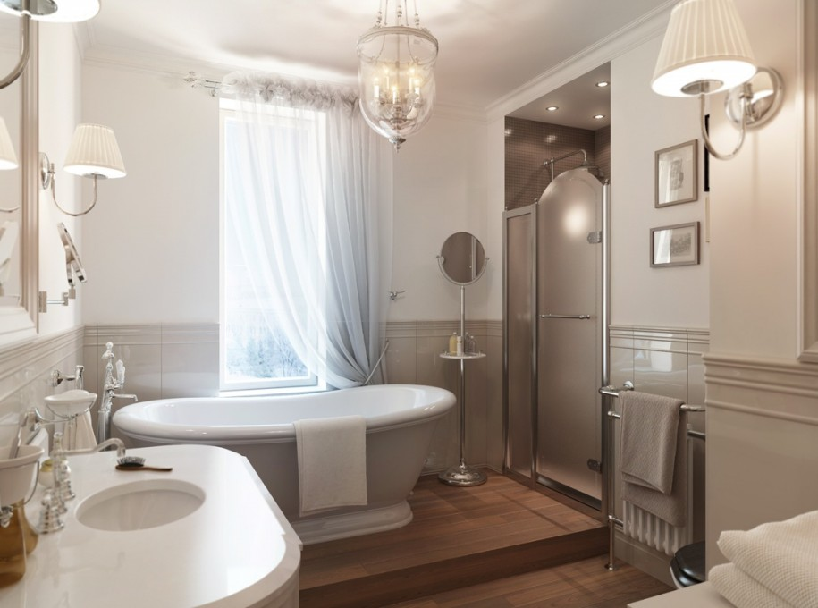easy mini bathroom chandelier. amazing small bathroom design with gorgoeus crystal chandelier and elegant  white bath tun also round washbow Inspiring Wall Floor Decoration for Your Small Bathroom