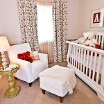 amazing small nursery room with elegant white crib white sofa and wonderful fower motif curtain and alphabet wall decration in large carpet