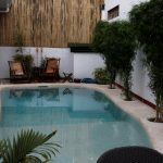 amazing small swimming pool with gorgeous hard stone paving also fresh bamboo [lant with black rattan chair for ethnic house theme