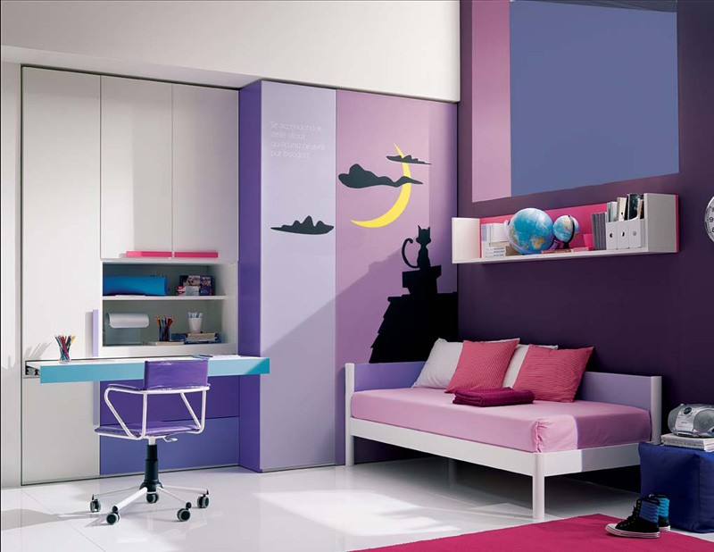 Amazing Spacious Teenage Girl Bedroom With Cute Violet Accent Also Cute  Built In Office Desk