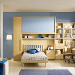 amazing teenage girl bedroom with elegant soft blue shades also interesting cream wooden cabinet with buil-in bed also interesting smalll office desk in tile flooring concept