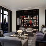 amazing view of new york city skyline feat elegant living room design also charming gray sofa with cute marylin monroe painting with flat ceiling design also gorgeous modular bookshelves