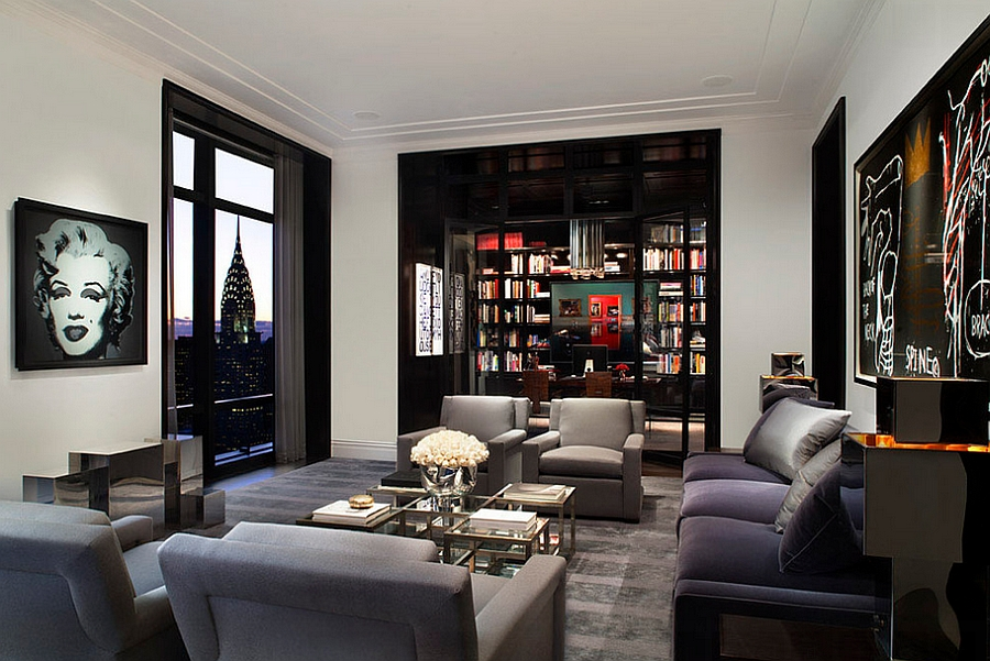 Amazing View Of New York City Skyline Feat Elegant Living Room Design Also  Charming Gray Sofa