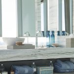astonishing blue bathroom renovation feat interesting wooden top also ravishing aluminum faucet with gorgeous blue towel for minimalist house