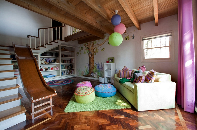 Great Astonishing Kids Playroom In Basement With Gorgoeus Brown Couch Also  Ravishing Green Rug With Slide Entrance