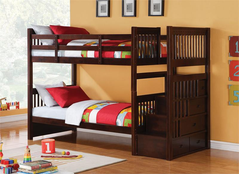 Astonishing Teak Wood Bunk Bed With Exotic Red And Green Sheeets Also  Interesting Orange Painted Wall