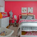 astonishing teenage bedroom with shocking pink painted wall also wonderful small cabinet drawer with movable chair also interesting fashion manequin
