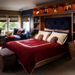 astonishing teenage boys room with classic room style also comfortable large bed and wonderful cabinet light with wooden bookshelves in warm large carpet flooring