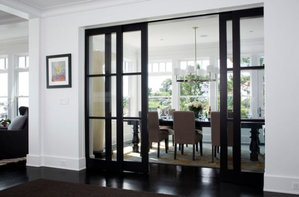Marvelous Astonishing White And Black Room With Gorgoeus Framed Sliding Glass Door  Divider With Amazing Brown Dining