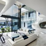 awesome Stars In The Near As Well Glass Desk On Rug As Nicely Sectional Sofa plus Black Lounge Chair also Chandelier Dazzling Trendy Dwelling Inside Design With amazing Dwelling Room Ornament