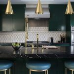 awesome kitchen renovation idea with amazing three goldern pendants and gorgeous dark green wall mount kitchen cabinet with granite countertop also cozy blue leather barstool