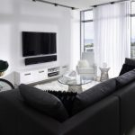 beautiful Balcony Including Round Glasses Desk On White Furry Rug Also Tv Wall Mount Gorgeous Modern Living Room decoration White Curtain Window