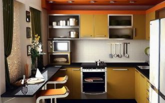 beautiful Counter Stools Together with Black Desk plus White Tile Wall Backsplash also Lighting Ideas In Ceiling Small Kitchen Design Concepts With Brown Cabinet