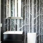 beautiful Daring Wallpaper Lavatory Vivid Gentle For Small Modern Rest room Design Using The Small Space