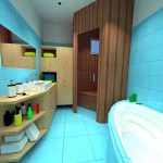 beautiful Ground Together with Wood Self-importance Sink plus Bathtub In The Close by Minimalist Toilet Ornament Concepts With Light Blue Tile Wall