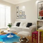 beautiful Mild Blue Rug Beneath White Round Desk Together with White Couch Additionally Eating Table In The Close by Contemporary Modern Living Room decoration With Frame On The Wall