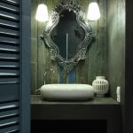 beautiful Mirror Completed With pendant Lamps Ornament Classic Restroom With Pretty Sink