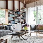 beautiful Round Table On White Round Fur Rug As Well E book Shelves Concepts Beside Door Alongside With Large Glasses Window Elegant Home Interior Design With Basic Sofa