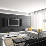 beautiful puffy Sofa Also Beige Fur Rug Also White Curtain Window Beautiful Modern Residing Room decoration Black Wallpaper Behind forty inch tv Wall Mount