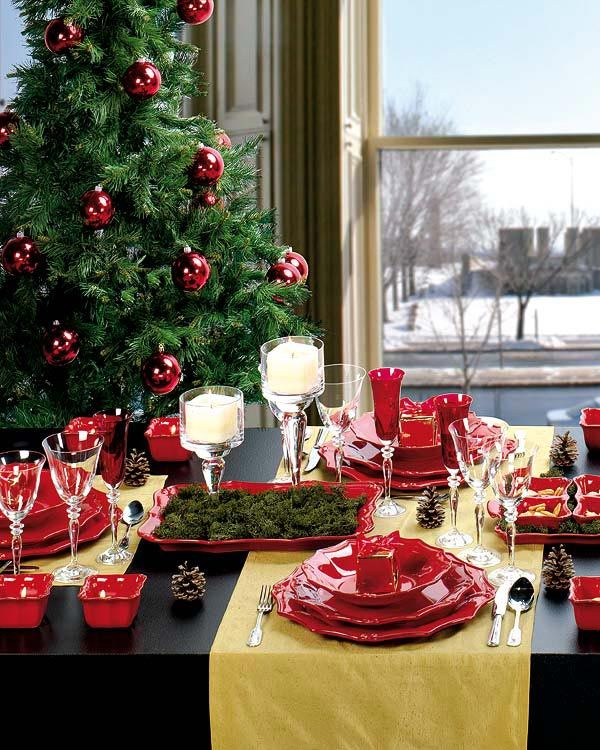 black dining table yellow table cloth beautiful christmas tree with red ball ornaments white plating set