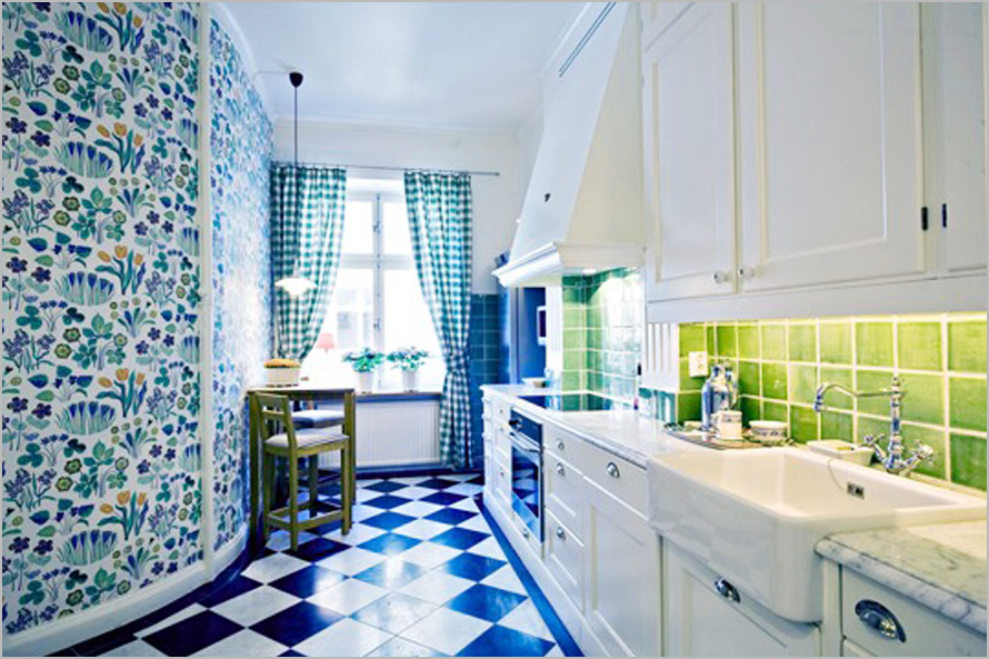 How to sprinkle your kitchen with colors homesfeed for Blue kitchen wallpaper