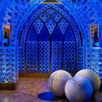 blue gothic wine cellar blue LED artful wine storage unique feature of lighting wooden decorative balls curved door entry wood wine racks wine cellar accessories classic wood tile wine bottles'arrangemen