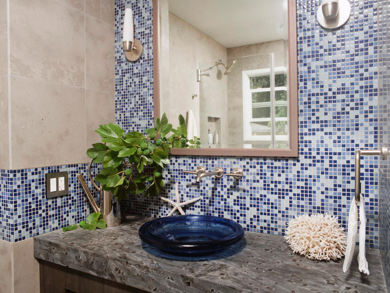 Blue Mosaic Tiled Backspalsh Framed Hanging Mirror Blue Vessel Sink Single  Steel Faucet Minimalist Wall Sconce