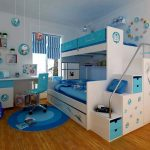 blue round rug hardwood flooring white loft bed with doraemon picture white wall white ceiling stripped blue-white curtain big glass window blue chair white desk