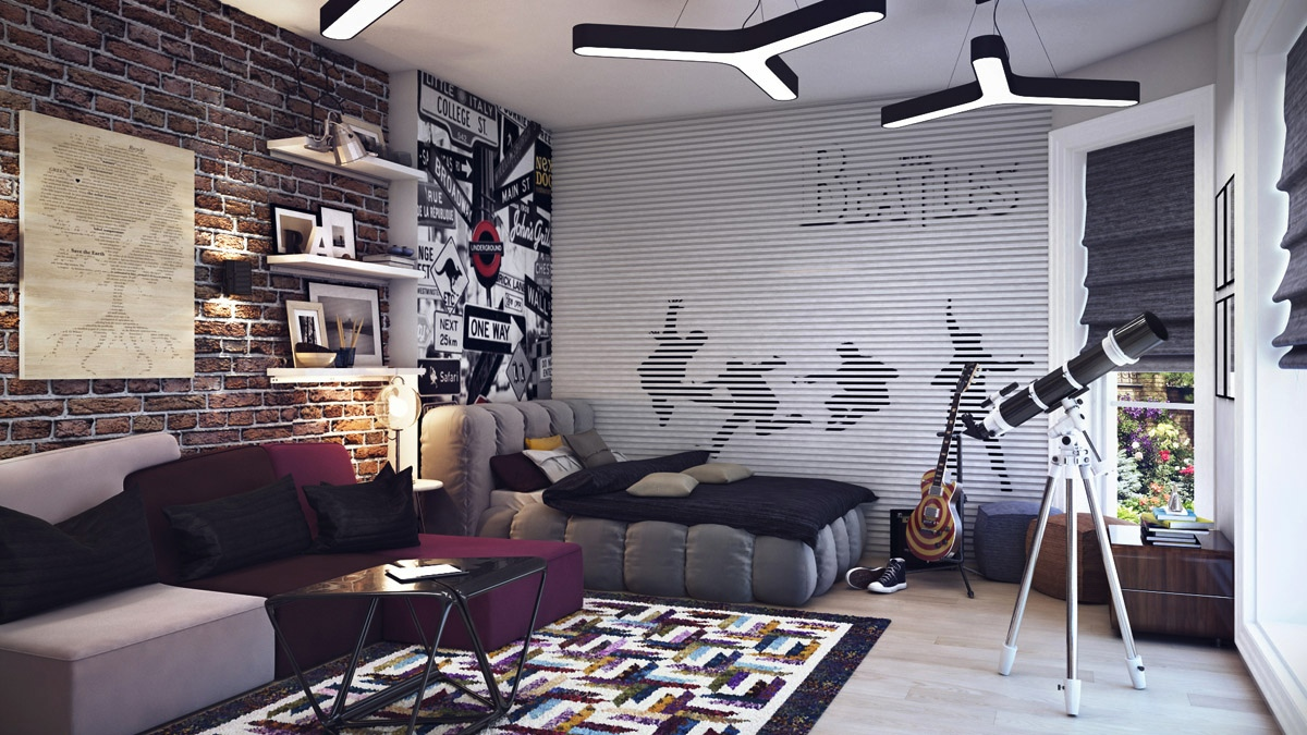 brick patterned wallpaper the beatles wallpaper comfortable unnique bed trendy floor rug white wooden bookshelves unique - Teen Room Decor Teenagers