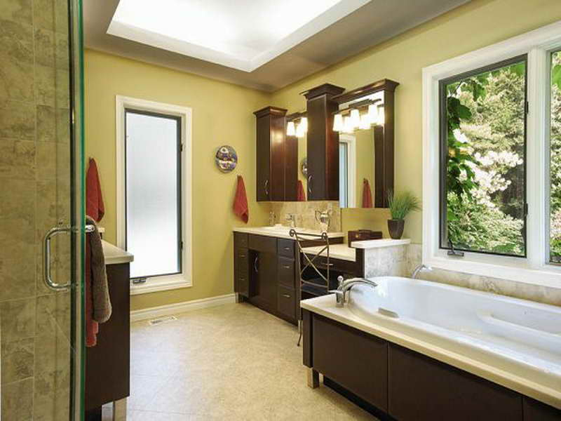 Bright Color Painted Wall Light Marble Floor Dark Wooden Bathroom Cabinets Undermount Sink Skylighted Ceiling White