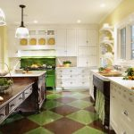 captivating kitchen design with amazing white creamy cabinet also energizing green accent with hardwooden low table in gorgoeus green brown square tile flooring