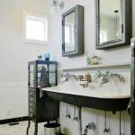 chic bathroom with vintage cabinet also ravishing white sink with elegant wooden medicine cabinet witn tile flooring