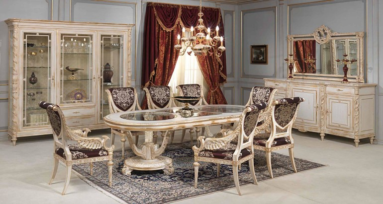 Classic Dining Area Desk Concept With White Gold Chair Together Fur Rug Underneath The Table