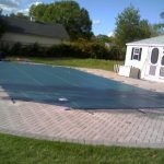 classic House Concepts With Large Blue Swimming Pool Design Concept protect In Backyard As Nicely Grasses In The Nearby