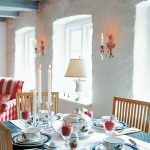 concrete wall white ceiling with blue beams wood dining chairs blue dining table white table lamp glass candelabra blue and white plating set white table cloth red and white striped armchair