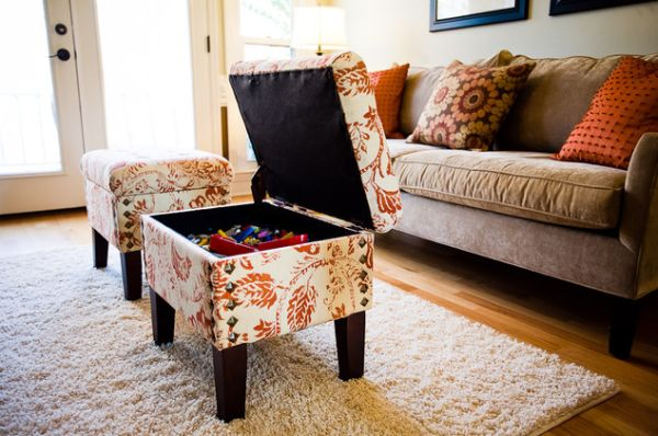 creame comfortable floor rug white and red floral storage ottoman beige  sofa wodden varnisehd floor white - How To Make My Living Room Tidy And Orderly? HomesFeed
