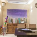 Creame Painted Wall Colorful Giraffe Statue Colorful Building Painting Dark Wooden Table Rustic Wooden Cabinets Skylighted Ceiling Vila Mariana Residence In Brazil By Cristiane Bergesch