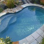 curvy swimming pool porcelain tiled pool sides pebbles pool sides natural surrounding small swimming pool ideas