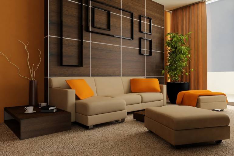 Cute Orange Curtain Window Including Cream Letaher Couch Also Cushions Additionally Wood Espresso Table Up