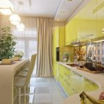 cute Yellow Gloss Kitchen Cabinet Plus White Countertop Including White Beige Curtain Window And Plant In The Nearby elegant smooth brown eating chair stunning design eating table