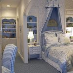 cute french style of teenage bedroom with exotic sky blue shade also large bed with beautiful canopy feat wall mount open shelve also square patterned chair