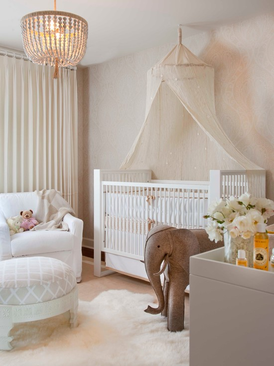 cute nursery room with elegant white crib and gorgeous crystal chandelier magnificent white sofa cute elephant & Baby Girl Nursery Room Decorating Ideas | HomesFeed