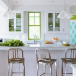 cute small kitchen idea with interesting stainless barstool also cute wall mount cabinet with fresh green windows in hardwooden flooring concept