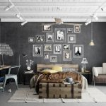 dark gray painted wall rustic wooden bedframe rustic wooden study desk steeled study chair white painted wooden ceiling rustic wooden chest industrail pendant lamp steeled floor lamp teen bedroom decor