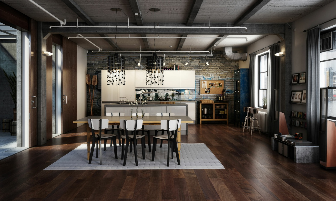 Dark Wooden Floor Dining Set Light Gray Rug Exposed Industrial Features Bricked Wall White