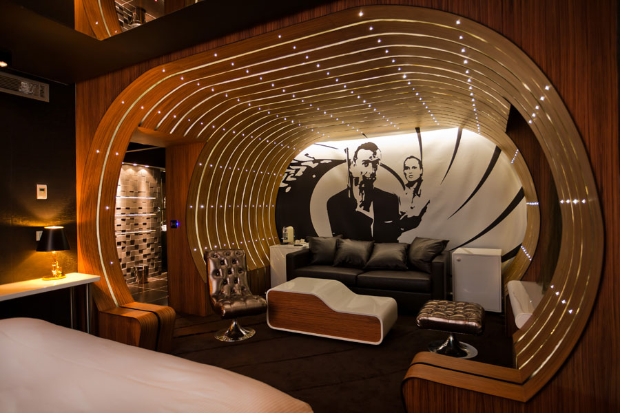 Eclectic Room Interior For Hotel With James Bond Wall Painting Also  Magnificent Wooden Wall Panel With