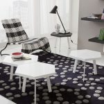 elegant Black fur living room Rug Together with Striped Sample Chair In The Nearby Cozy Living area White Shaped Table Set Design