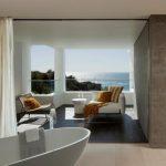 elegant Blue rug plus White Curtain beautiful white Bathtub Concepts Rustic Seashore House Interior Design amazing Partition White fabric Sofa