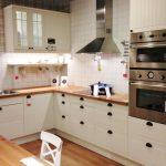 elegant Brown Picket Countertop plus Behind Range The Prime Backsplash Along Wooden Floor Small Kitchen Design Ideas With White Picket Cabinet Storage